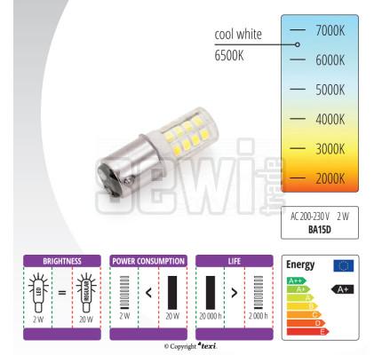 Žiarovka LED 230 V, 2 W s bajonetom